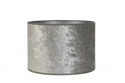 Skjerm sylinder, preget velour, Sølvgrå