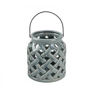 Grågrønn flettet lanterne i keramikk