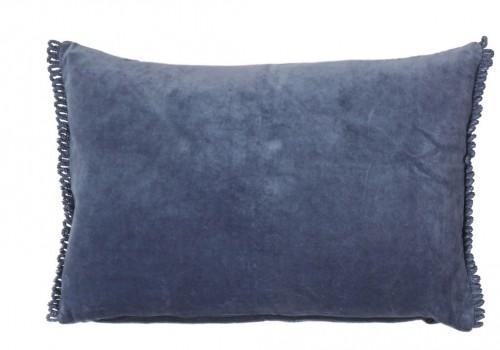 CALI pute, blå med frynser 40x60