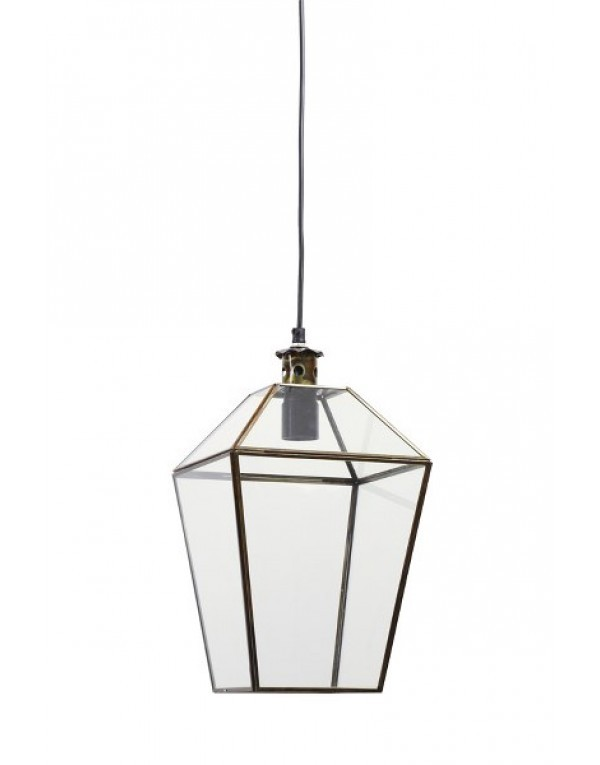 Modish Taklampe i glass og messing - KN Interiør WG-29