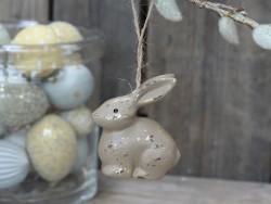 Kanin i snor, H 7cm Gul antikk