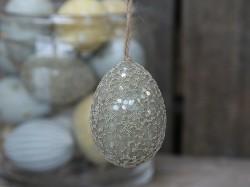 Nydelig egg i snor med perler, lysegrønn, 7cm