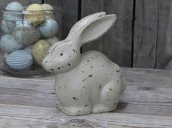 Beige kanin med antikk finish, H 19cm